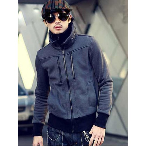 Men's Double Collar & Double Zipper Jacket