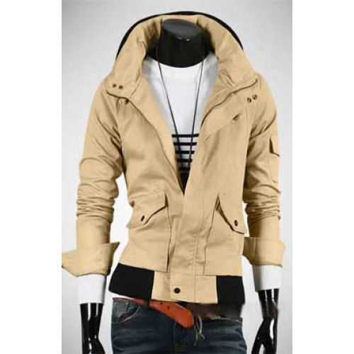 Slim Fit Removable Cap Men Hoodies Jacket
